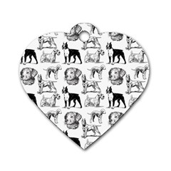 Dog Pattern White Dog Tag Heart (one Side)