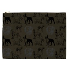 Dog Pattern Brown Cosmetic Bag (xxl)