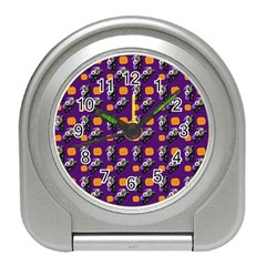 Halloween Skeleton Pumpkin Pattern Purple Travel Alarm Clock by snowwhitegirl