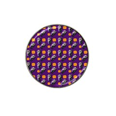 Halloween Skeleton Pumpkin Pattern Purple Hat Clip Ball Marker by snowwhitegirl