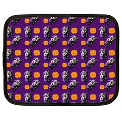 Halloween Skeleton Pumpkin Pattern Purple Netbook Case (large) by snowwhitegirl
