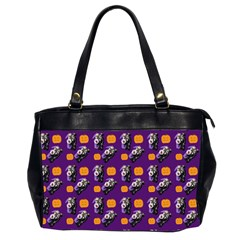 Halloween Skeleton Pumpkin Pattern Purple Oversize Office Handbag (2 Sides) by snowwhitegirl