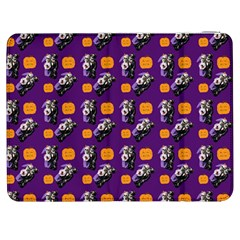 Halloween Skeleton Pumpkin Pattern Purple Samsung Galaxy Tab 7  P1000 Flip Case by snowwhitegirl