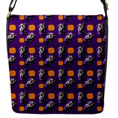Halloween Skeleton Pumpkin Pattern Purple Flap Closure Messenger Bag (s) by snowwhitegirl