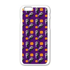 Halloween Skeleton Pumpkin Pattern Purple Apple Iphone 6/6s White Enamel Case by snowwhitegirl