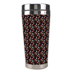 Vintage Floral Black Stainless Steel Travel Tumblers by snowwhitegirl