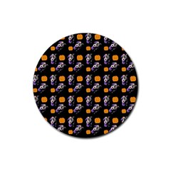 Halloween Skeleton Pumpkin Pattern Black Rubber Coaster (round)  by snowwhitegirl