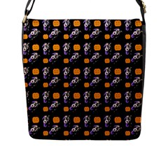 Halloween Skeleton Pumpkin Pattern Black Flap Closure Messenger Bag (l) by snowwhitegirl