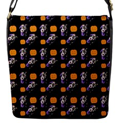 Halloween Skeleton Pumpkin Pattern Black Flap Closure Messenger Bag (s) by snowwhitegirl
