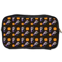 Halloween Skeleton Pumpkin Pattern Brown Toiletries Bag (one Side) by snowwhitegirl