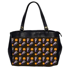Halloween Skeleton Pumpkin Pattern Brown Oversize Office Handbag (2 Sides) by snowwhitegirl