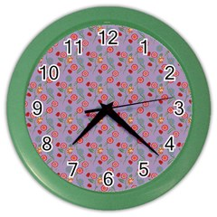 Vintage Floral Lilac Color Wall Clock by snowwhitegirl