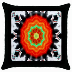 Abstract Kaleidoscope Colored Throw Pillow Case (black) by Samandel
