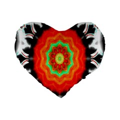 Abstract Kaleidoscope Colored Standard 16  Premium Flano Heart Shape Cushions