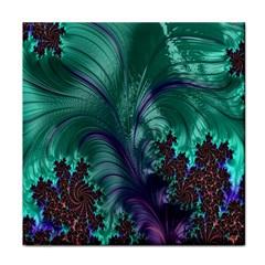Fractal Turquoise Feather Swirl Tile Coasters