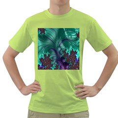 Fractal Turquoise Feather Swirl Green T Shirt