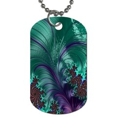 Fractal Turquoise Feather Swirl Dog Tag (two Sides) by Samandel