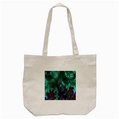 Fractal Turquoise Feather Swirl Tote Bag (cream)