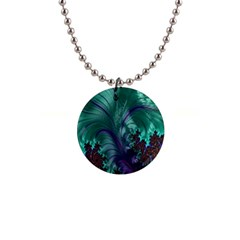 Fractal Turquoise Feather Swirl Button Necklaces by Samandel