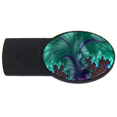 Fractal Turquoise Feather Swirl Usb Flash Drive Oval (4 Gb) by Samandel