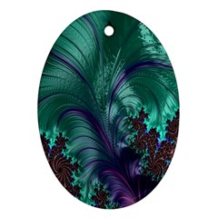 Fractal Turquoise Feather Swirl Oval Ornament (two Sides)