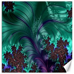Fractal Turquoise Feather Swirl Canvas 16  X 16