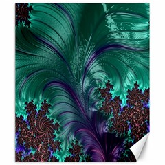 Fractal Turquoise Feather Swirl Canvas 20  X 24  by Samandel