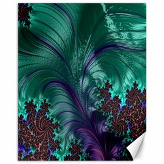 Fractal Turquoise Feather Swirl Canvas 11  X 14