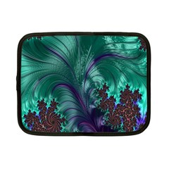 Fractal Turquoise Feather Swirl Netbook Case (small)