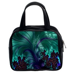 Fractal Turquoise Feather Swirl Classic Handbag (two Sides)