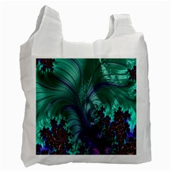 Fractal Turquoise Feather Swirl Recycle Bag (one Side) by Samandel