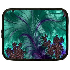 Fractal Turquoise Feather Swirl Netbook Case (xxl)