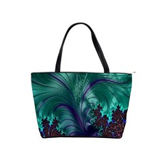 Fractal Turquoise Feather Swirl Classic Shoulder Handbag