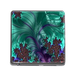Fractal Turquoise Feather Swirl Memory Card Reader (square 5 Slot)