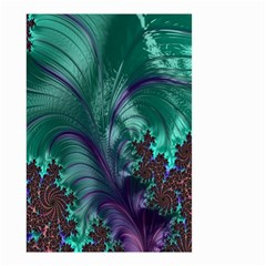 Fractal Turquoise Feather Swirl Small Garden Flag (two Sides) by Samandel
