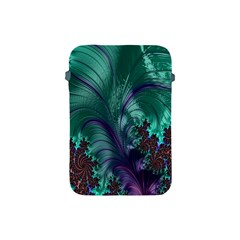 Fractal Turquoise Feather Swirl Apple Ipad Mini Protective Soft Cases by Samandel