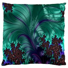 Fractal Turquoise Feather Swirl Standard Flano Cushion Case (two Sides) by Samandel
