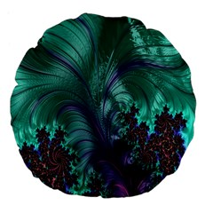 Fractal Turquoise Feather Swirl Large 18  Premium Flano Round Cushions