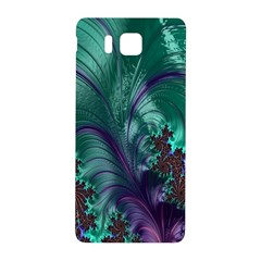 Fractal Turquoise Feather Swirl Samsung Galaxy Alpha Hardshell Back Case