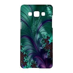 Fractal Turquoise Feather Swirl Samsung Galaxy A5 Hardshell Case  by Samandel
