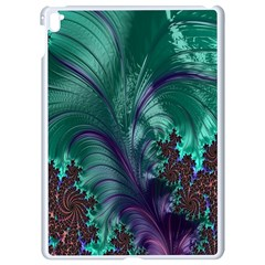 Fractal Turquoise Feather Swirl Apple Ipad Pro 9 7   White Seamless Case