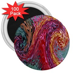 Color Rainbow Abstract Flow Merge 3  Magnets (100 Pack)
