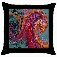 Color Rainbow Abstract Flow Merge Throw Pillow Case (black)