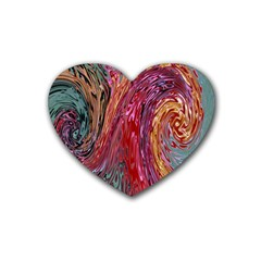 Color Rainbow Abstract Flow Merge Rubber Coaster (heart)