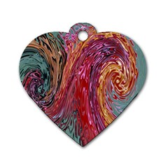Color Rainbow Abstract Flow Merge Dog Tag Heart (two Sides) by Samandel