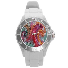Color Rainbow Abstract Flow Merge Round Plastic Sport Watch (l)