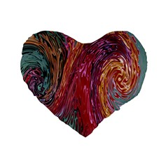 Color Rainbow Abstract Flow Merge Standard 16  Premium Heart Shape Cushions
