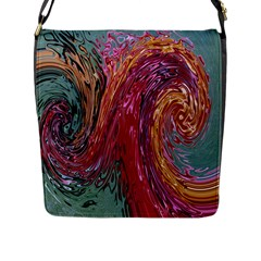 Color Rainbow Abstract Flow Merge Flap Closure Messenger Bag (l)
