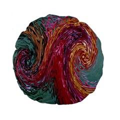 Color Rainbow Abstract Flow Merge Standard 15  Premium Flano Round Cushions