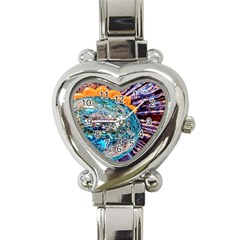 Multi Colored Glass Sphere Glass Heart Italian Charm Watch by Samandel